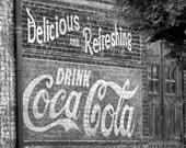 Coke Sign  Art Print  8 x 10 B/W