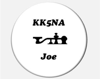 Your Name Callsign and Morse Code Key Graphic Button
