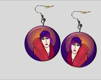 Deco Lady in Red and Purple 1.25 Dangle Earrings E008