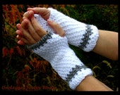 Wrist Warmers in White and Silver