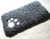 REAL CAT HAIR - IPhone IPod felt case with real cat hair kitty paw embelishment