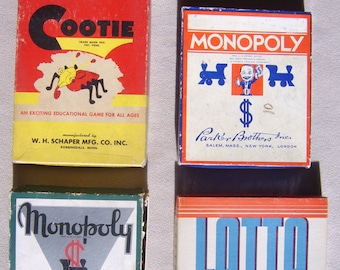 Vintage Cooties, Lotto and Monopoly Games (Package Deal)