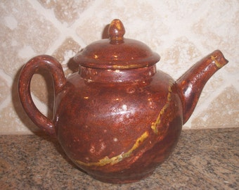 Ceramic Clay, Pottery, Brown Rustic, Crystalline type Glazed Large Tea Pot