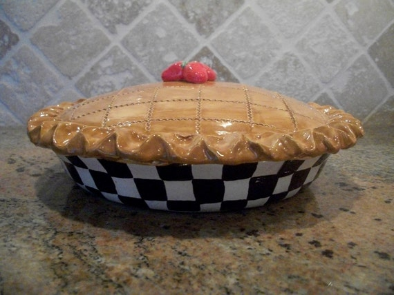 Ceramic Clay Pie Plate baking & serving dish - Ceramic Pie Keeper