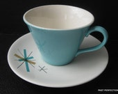 Mid-century Modern Turquoise starburst Teacup and Saucer