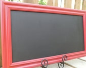 Magnetic Chalkboard  Red Wood Frame