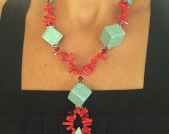 Chunky Turquoise Cube, Coral, Statement Necklace, Tribal, Stone, Contemporary