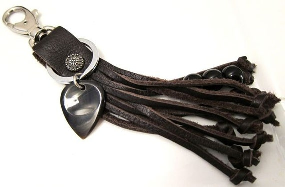Dark Brown Leather hand cut fringe and knotted end Key fob  with Buffalo Horn Guitar Pick Key Chain. Can Create with any pick combination