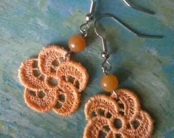 SALE - Chloe Peach Vintage Lace Earrings