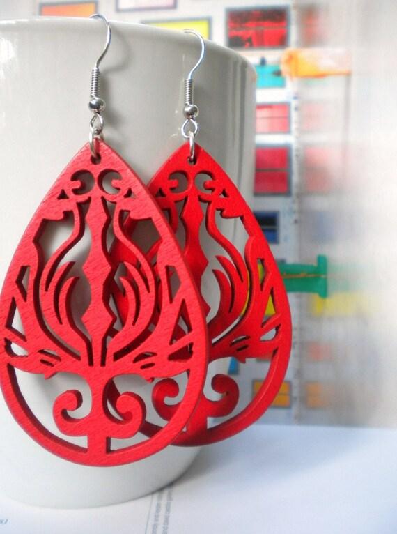 Raja Red Teardrop Wooden Earrings