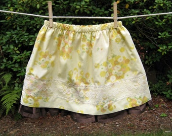 Brown and Yellow Toddler Pillowcase Skirt with Lace and Ruffle size 5T