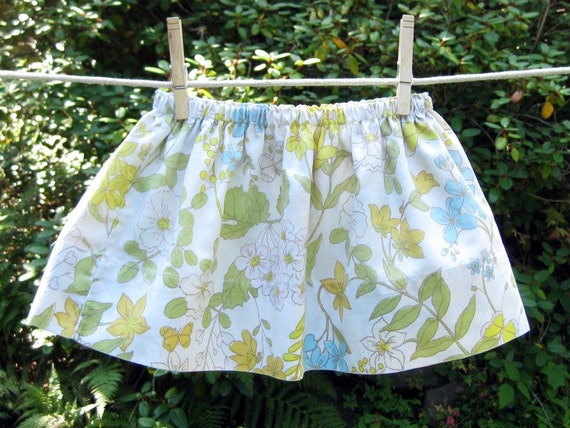 Shop Closing Sale  Upcycled Toddler Skirt size 2T Woodland Flowers