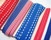 American Flag, Stripes and Stitches Ribbon Assortment - 4 Yards of 3/8 inch Grosgrain Ribbon - Great for Patriotic July 4th Projects