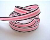 Navy Pink Surfboard Stripes - 1 Yard of 3/8 inch Ribbon