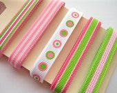 Pink Limeade Ribbon Assortment - 5 Yards of 3/8 inch Grosgrain Ribbon