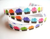 Bright Cupcakes Ribbon - 1 Yard of 3/8 inch Ribbon