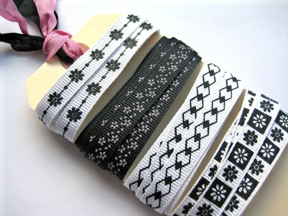 Discounted - End of Spools Combo,You Get a Few Extra Inches - Black and White Ribbon Assortment - Flowers and Diamonds -  4 Yards of 3\/8 inch Grosgrain Ribbon