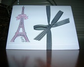 Paris Eiffel Tower Hand Stamped and Highlighted Set of Five Note Cards