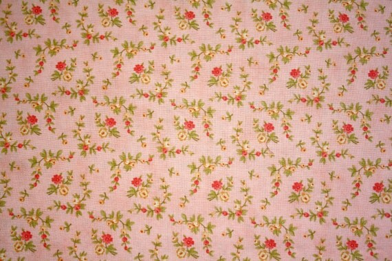 Pink Floral Small Scale Fabric for Dollhouse Miniatures