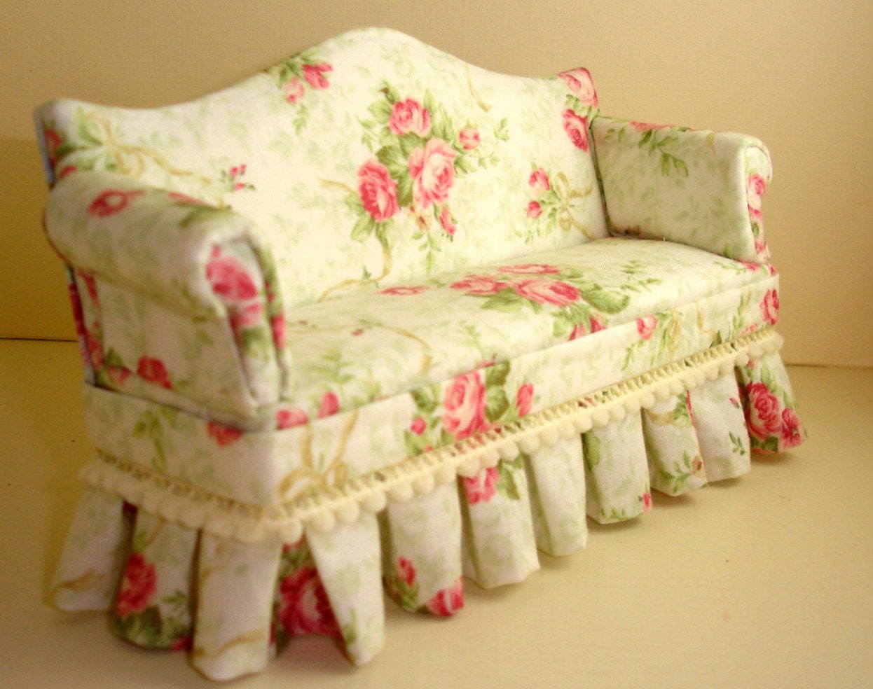 Shabby Chic Cabbage Rose Dollhouse Sofa