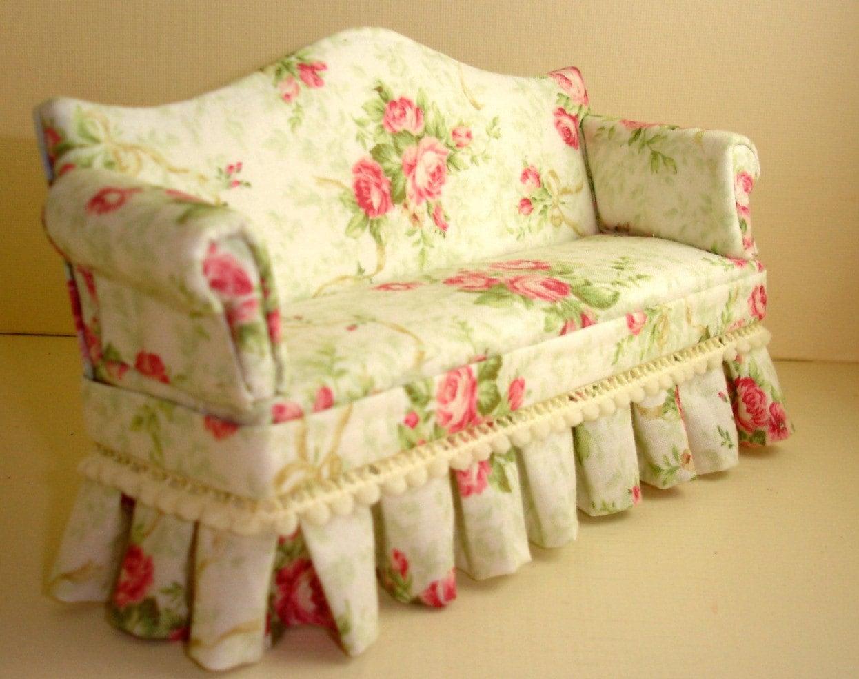 Shabby Chic Cabbage Rose Dollhouse Sofa