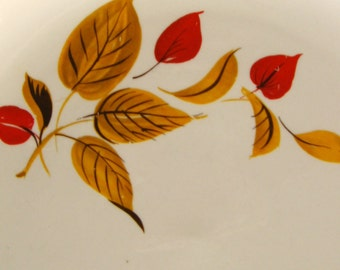 Vintage 1960s Salem Mandarin Dinner Plates & Salad Bowls (2) - Rust and Gold Leaves