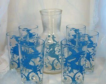 Hazel Atlas Blue Leaping Gazelle Glassware Set - Carafe and Six Tumblers - FREE Shipping