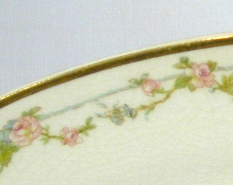 """Antique Crooksville Stinthal Ironstone Platter - 10""""x14"""": Roses Twined and Vined"""