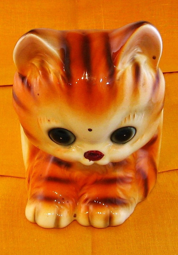 Vintage Lefton Orange Tabby Planter Kitty Cat Kitsch
