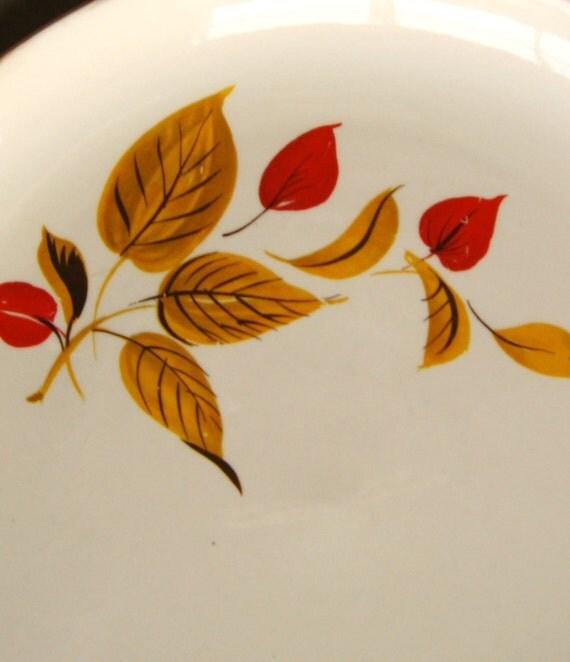 Vintage 1960s Salem Mandarin Dinner Plates & Salad Bowls (2) - Rust and Gold Leaves