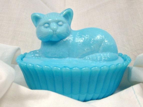 Westmoreland Blue Delphite Milk Glass Cat-on-a-Basket Dish: Kitten Candy Cute