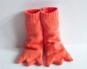 Knitted Bird Leg Baby Booties - Long and Orange, Handmade Baby Gift