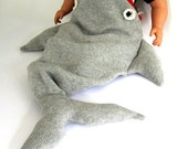Baby Shark Sleeping Bag - Handmade Knitted Baby Costume, size 3-12 months