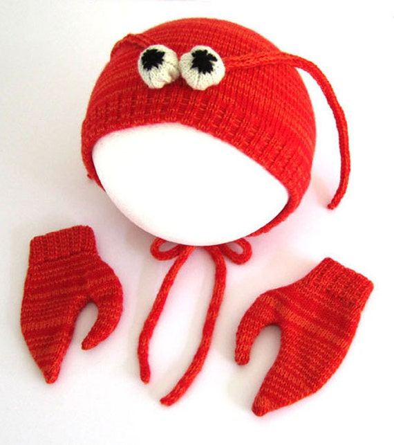Lobster Hat & Mittens Set for Babies, Handmade Gift -  Lambswool Costume