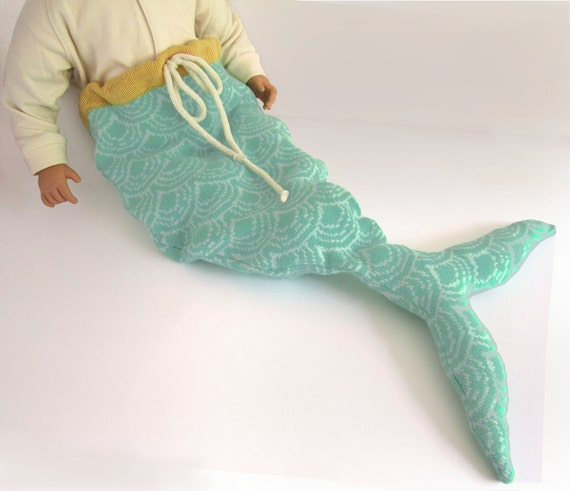 Mermaid Tail Baby Costume, Pale Print, Handmade Knitted - Baby Gift