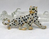 RESERVED for TRACY YEAGER - Vintage 1980s Big Cat Leopard Rhinestone and Enamel Brooch
