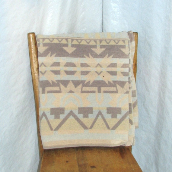 Fabulous Vintage Indian Camp Blanket - Tan, Brown and Light Blue