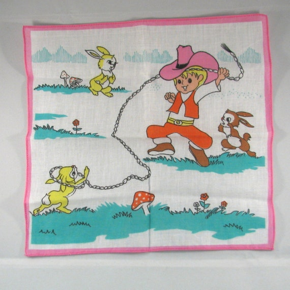 Cowboy Lassoing Bunny's Vintage Child's Hankie