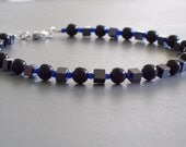 RESERVED - Obsidian and Hematite anklet for jillyeatts