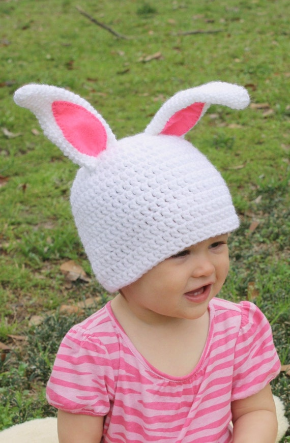 Crocheted Bunny Hat for boy or girl, sizes newborn, 3-6 m, 6-12 m, 1-2 yr, 2 and up and adult, halloween costume, 36 custom colors