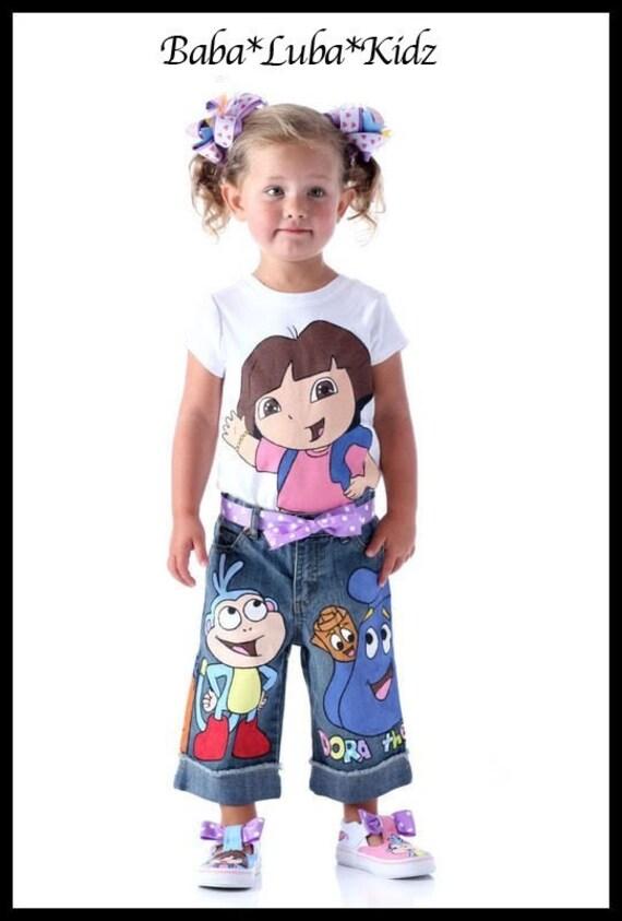 Boutique custom painted D0R-A SET 12 18 24 2 3 4 5 6 7 8 capri jean or skirt set ETSYKIDS