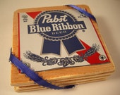 Pabst Blue Ribbon Coasters Set of 4