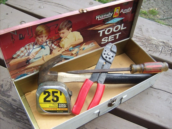 Handy Andy Childrens Metal Tool Box- - Just Like Dads