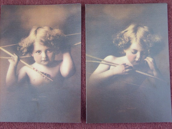 Reproduced Antique Lithographs / Cupid Asleep / Cupid  Awake 1987