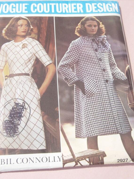 Vintage Vogue Couturier Design Pattern / Designer Sybil Connolly / Dress - Coat / Size 18 / UNCUT