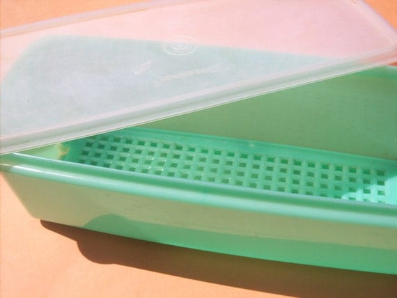 Tupperware Celery / Vegetable Keeper with Lid and Grid / Jadeite Green