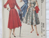 Vintage women's 1955 McCall's 3531 Dress and Bolero Sewing Pattern Sz 12