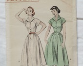 Vintage women's 1950s Butterick 6409 Day Dress Sewing Pattern Sz 14