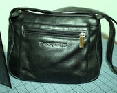 Passport Vintage Black Leather Bag from the 80s with Wilson Leather Wallet-sale.