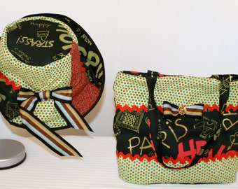 Hand Crafted By Maggie Hello Paris Matching Purse and Hat-Early Bird Sale-Two for One.